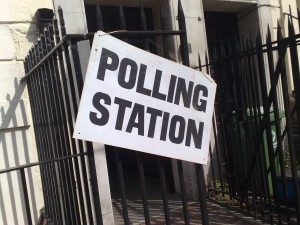 'Polling Station' sign and entrance