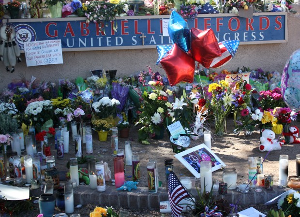 Flowers, candles, etc. dedicated to Congresswoman Gabrielle Giffords