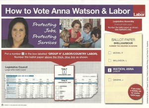 Anna Watson Labor how-to-vote card