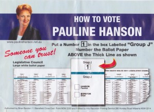Pauline Hanson how-to-vote card