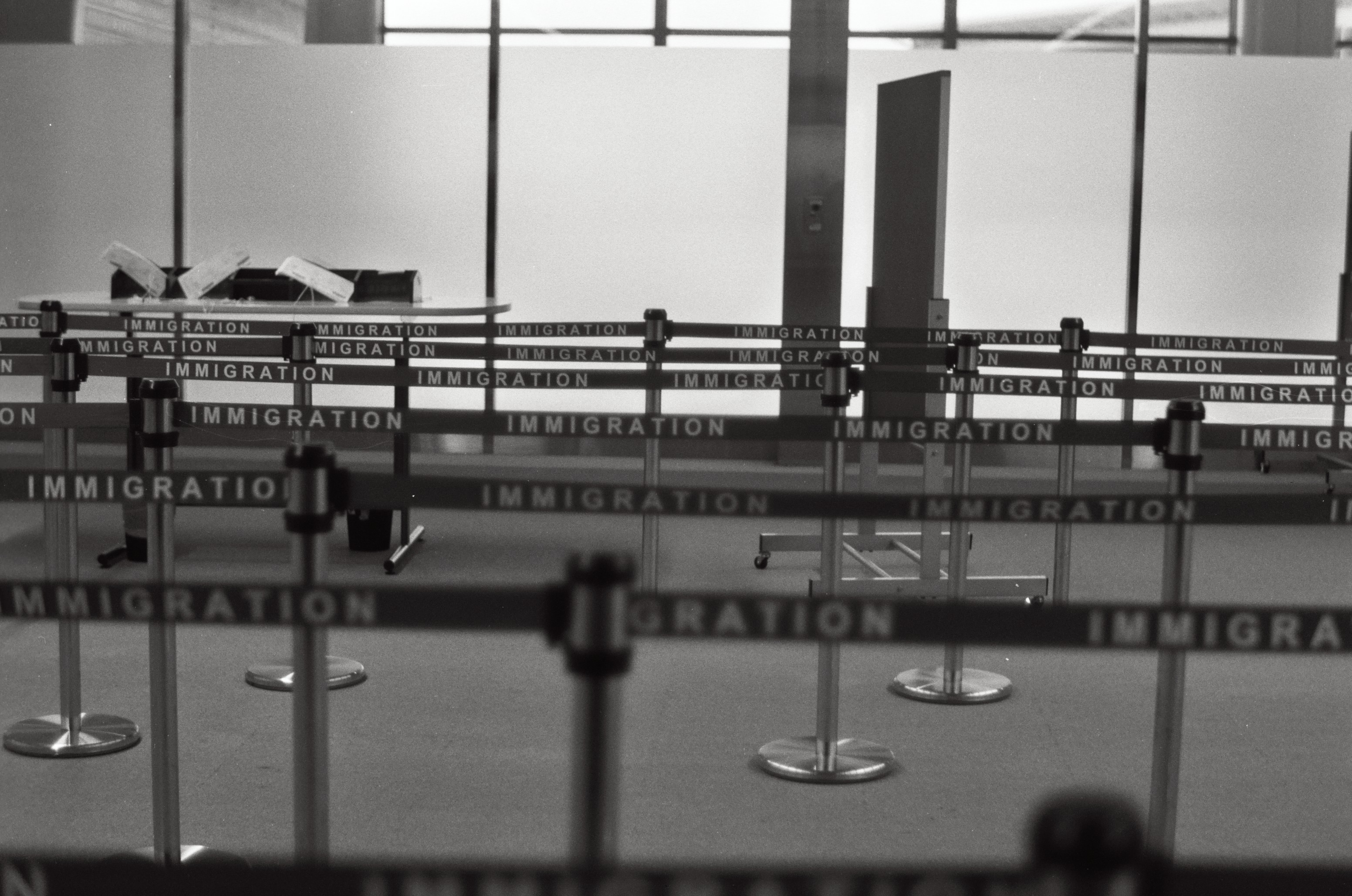 Airport immigration queue