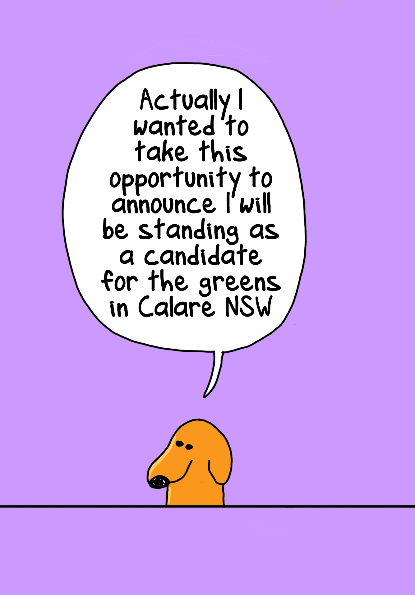 Cartoon announcing candidacy for the Greens in Calare NSW